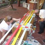 Painting the bench slats