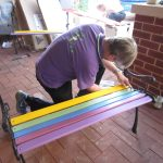 Assembling the buddy benches